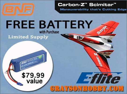 Battery with E-Flite Carbon-Z Scimitar BNF Aircraft