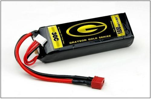 1800mAh 11.1v 30C - 3S Grayson Gold Li-Poly Battery Pack